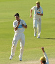 Mitchell Johnson celebrates Jake Haberfield to complete victory