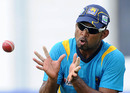 Tharanga Paranavitana prepares to catch a ball during practice, Galle, November 15, 2012
