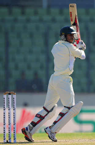 Nasir Hossain hits on the off side, Bangladesh v West Indies, 1st Test, Mirpur, 4th day, November 16, 2012