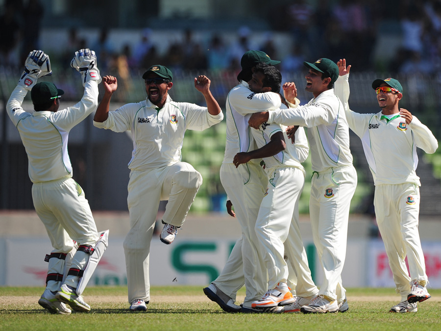 Bangladesh celebrate the fall of Chris Gayle