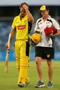 Mitchell Marsh walks off the field after suffering a hamstring injury