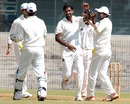 L Balaji celebrates a wicket, Tamil Nadu v Maharashtra, Ranji Trophy, Group B, 2nd day, Chennai, November 18, 2012