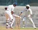 Harshad Khadiwale finds his stumps dislodged, Tamil Nadu v Maharashtra, Ranji Trophy, Group B, 2nd day, Chennai, November 18, 2012