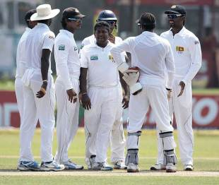 Rangana Herath picked up 6 for 43 in the second innings and finished with 11 in the match, Sri Lanka v New Zealand, 1st Test, Galle, 3rd day, November 19, 2012
