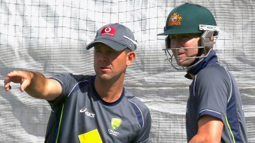 Ricky Ponting and Michael Clarke at Australia's training session
