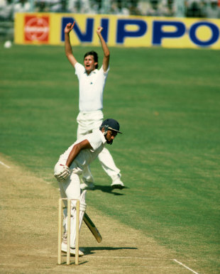 Neil Foster celebrates taking the wicket of Mohinder Amarnath, India v England, 4th Test, Chennai, January 13, 1985