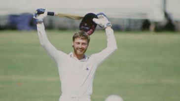 Graeme Fowler celebrates his double-century against India