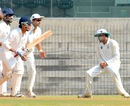 S Badrinath takes a catch at silly point ,Tamil Nadu v Maharashtra, Ranji Trophy, Group B, Chennai, 4th day, November 19, 2012