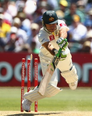 Ricky Ponting loses his footing, and his off stump, Australia v South Africa, 2nd Test, Adelaide, 1st day, November 22, 2012