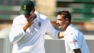 Dale Steyn stretches his tight left hamstring