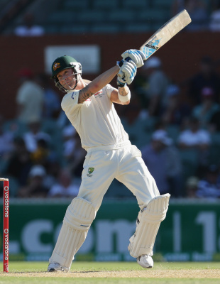 Michael Clarke slices on through the off side, Australia v South Africa, 2nd Test, Adelaide, 1st day, November 22, 2012