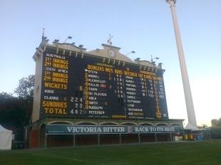 The scoreboard at the end of the first day, Australia v South Africa, 2nd Test, Adelaide, 1st day, November 22, 2012