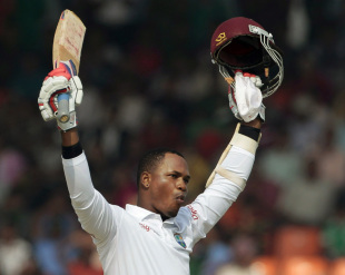 Marlon Samuels celebrates his maiden Test double century, Bangladesh v West Indies, 2nd Test, Khulna, 3rd day, November 23, 2012