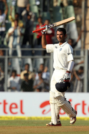 Cheteshwar Pujara got past 100 for the second time in the series, India v England, 2nd Test, Mumbai, 1st day, November 23, 2012