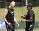 Chris Martin and Chaminda Vaas have a chat, Colombo, November 23, 2012