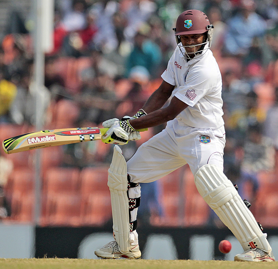 Shivnarine Chanderpaul plays the cut shot