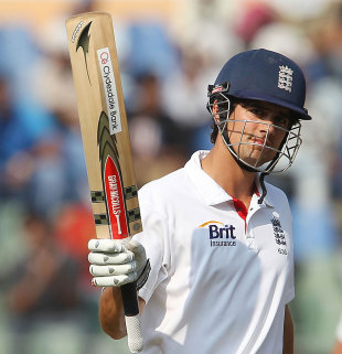 Alastair Cook acknowledges another half-century, India v England, 2nd Test, Mumbai, 2nd day, November 24, 2012