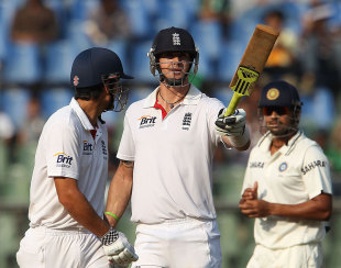 Kevin Pietersen reached his first fifty of the series, India v England, 2nd Test, Mumbai, 2nd day, November 24, 2012