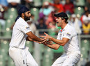 Monty Panesar gets congratulations after removing Virender Sehwag