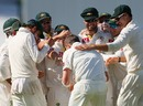 The Australians mob Peter Siddle after Dale Steyn's wicket