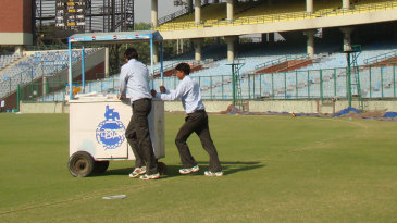The drinks trolley is brought out at the Feroz Shah Kotla