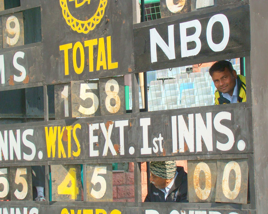 The scorecard at the Feroz Shah Kotla