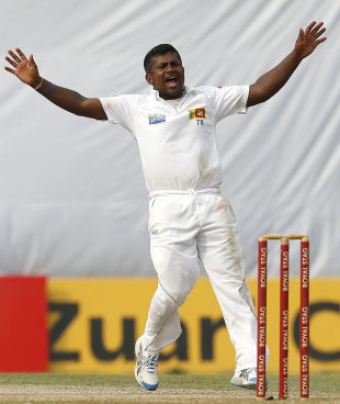Rangana Herath appeals for a wicket, Sri Lanka v New Zealand, 2nd Test, Colombo, 2nd day, November 26, 2012