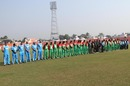 Players of Bangladesh and BCB XI line up for a minute's silence, Bangladesh v Bangladesh Cricket Board XI, Khulna, November 27, 2012