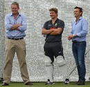 Tom Moody, Shane Watson and Adam Gilchrist at a training session, Perth, November 28, 2012
