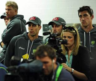 David Warner, Mitchell Johnson, Nathan Lyon and Mitchell Starc look on as Ricky Ponting announces his retirement, Perth, November 29, 2012