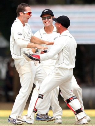 Todd Astle erupts after taking his first Test wicket, Sri Lanka v New Zealand, 2nd Test, Colombo, 5th day, November 29, 2012
