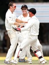 Todd Astle erupts after taking his first Test wicket