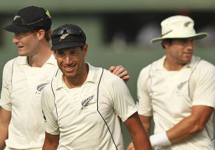 Ross Taylor and Martin Guptill celebrate New Zealand's win, Sri Lanka v New Zealand, 2nd Test, Colombo, 5th day, November 29, 2012