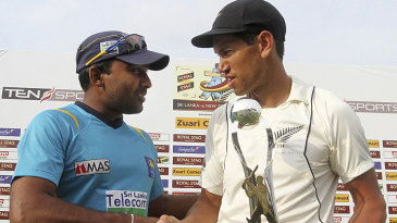 Ross Taylor and Mahela Jayawardene shake hands after squaring the series