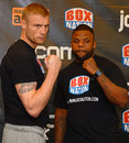Andrew Flintoff poses with his opponent ahead of his debut bout as a boxer, Manchester, November 29, 2012
