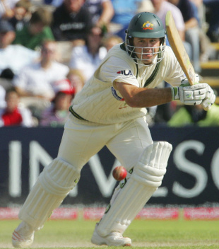 Ricky Ponting drives on the off side, England v Australia, 3rd Test, Old Trafford, 5th day, August 15, 2005