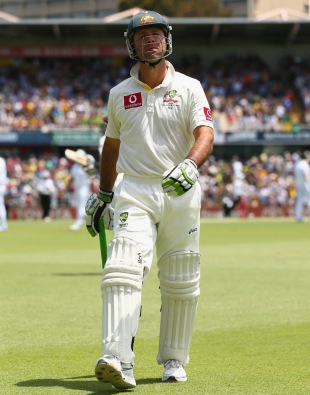 Ricky Ponting walks off after his dismissal, Australia v South Africa, third Test, day three, Perth, December 1, 2012