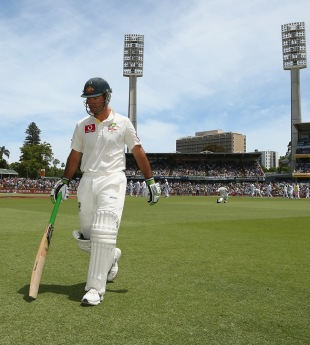 Ricky Ponting leaves the middle after his dismissal, Australia v South Africa, third Test, day two, Perth, December 1, 2012