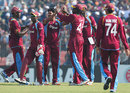 West Indies celebrate an early strike