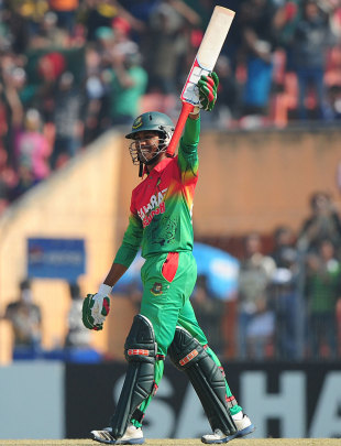 Anamul Haque celebrates after getting a half-century, Bangladesh v West Indies, 2nd ODI, Khulna, December 2, 2012
