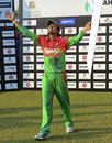 Anamul Haque savours his Man of the Match cheque, Bangladesh v West Indies, 2nd ODI, Khulna, December 2, 2012