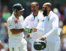 Hashim Amla and Robin Peterson congratulate Ricky Ponting