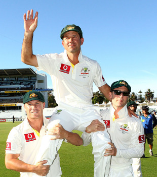 Ricky Ponting is carried by David Warner and Michael Clarke after the Perth Test, Australia v South Africa, 3rd Test, Perth, 4th day, December 3, 2012