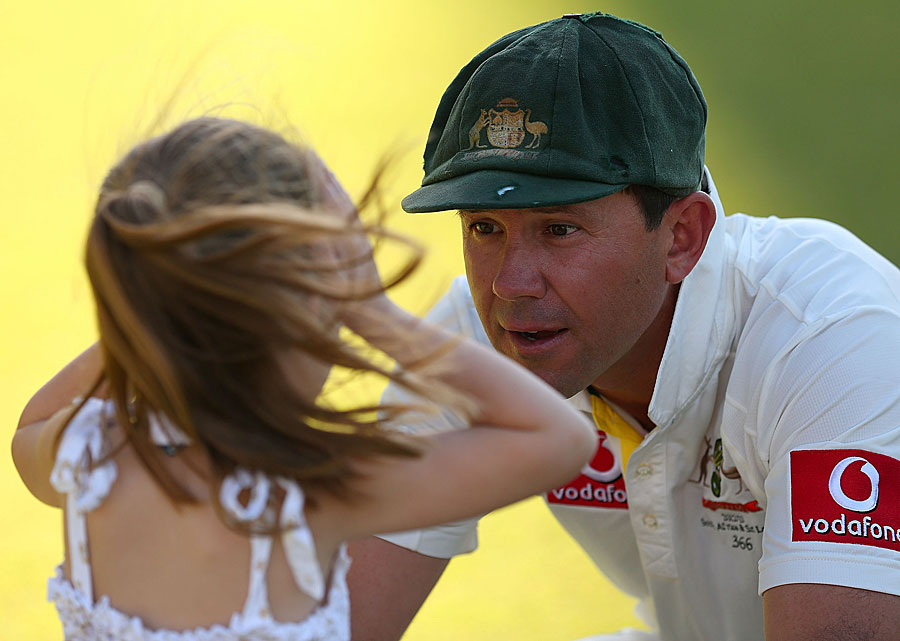 Ricky Ponting talks to his daughter