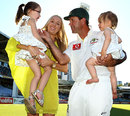 Ricky Ponting poses with his wife and children after his farewell Test