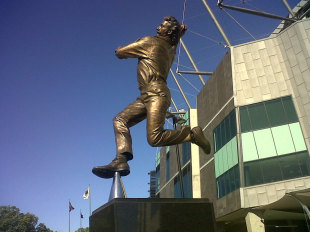 The statue of Dennis Lillee outside the Melbourne Cricket Ground, November 2012