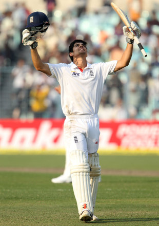Alastair Cook went on to make his 23rd Test century - the most for England, India v England, 3rd Test, Kolkata, 2nd day, December 6, 2012