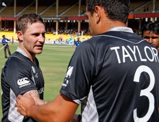 Brendon McCullum shakes Ross Taylor's hand, New Zealand v Zimbabwe, Group A, World Cup 2011, Motera, March 4, 2011