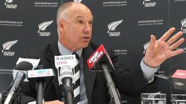New Zealand Cricket chief executive David White at a press conference