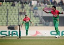Shafiul Islam reacts as Marlon Samuels is run out, Bangladesh v West Indies, 5th ODI, Mirpur, December 8, 2012
